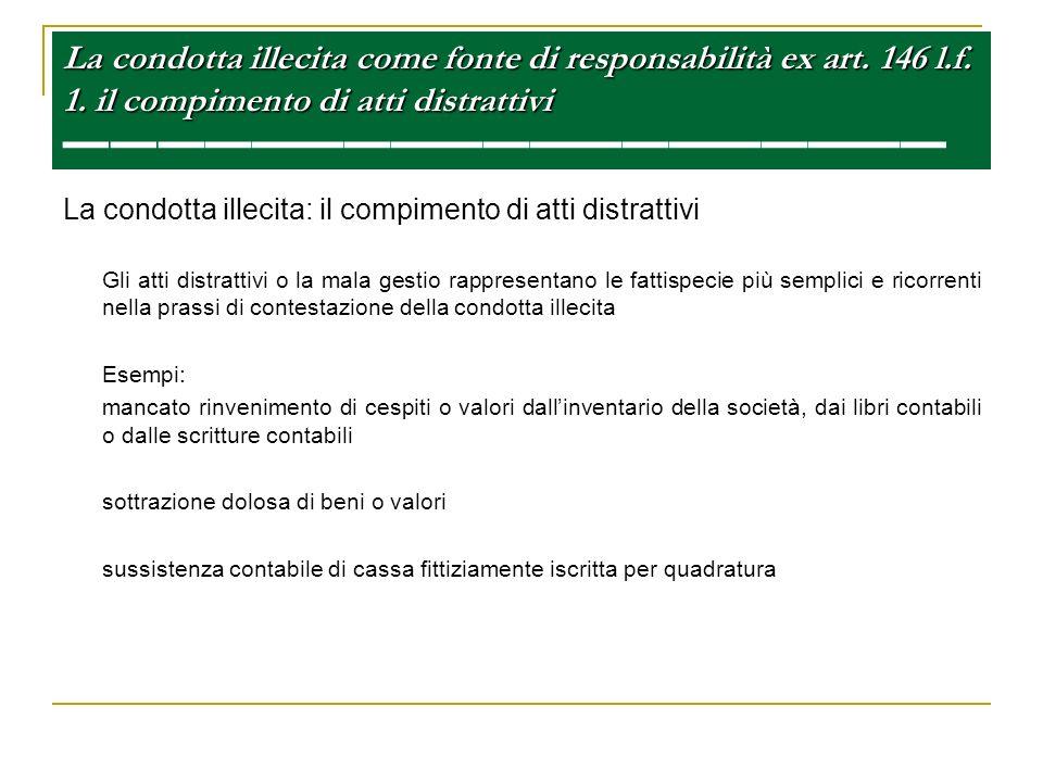 La condotta illecita come fonte di responsabilità ex art. 146 l. f. 1