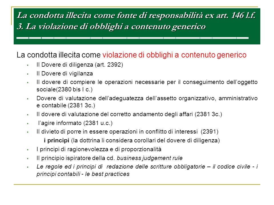La condotta illecita come fonte di responsabilità ex art. 146 l. f. 3