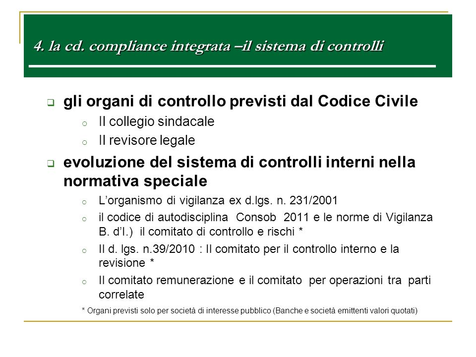 gli organi di controllo previsti dal Codice Civile
