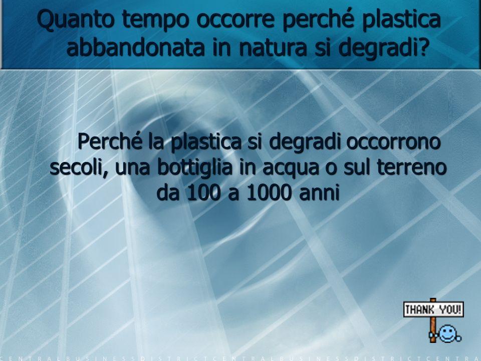 Quanto tempo occorre perché plastica abbandonata in natura si degradi