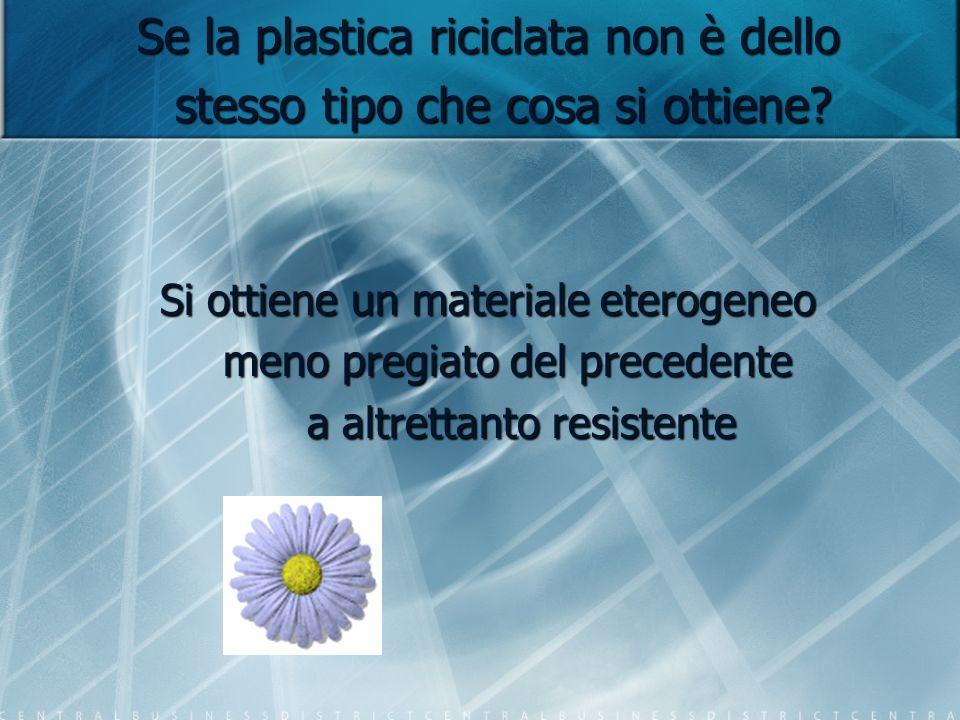 Se la plastica riciclata non è dello stesso tipo che cosa si ottiene