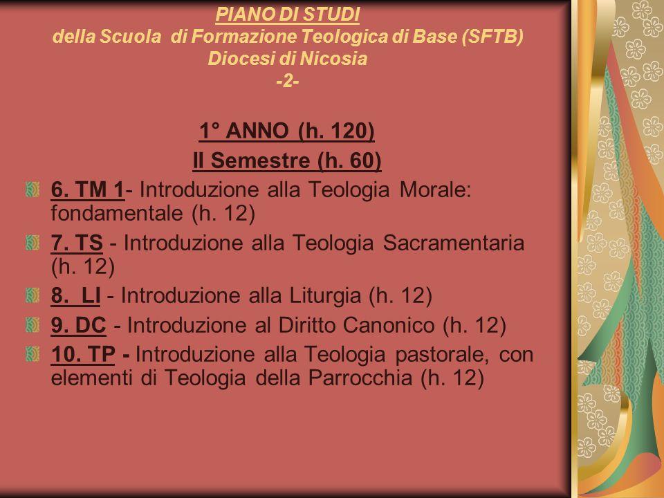 1° ANNO (h. 120) II Semestre (h. 60)