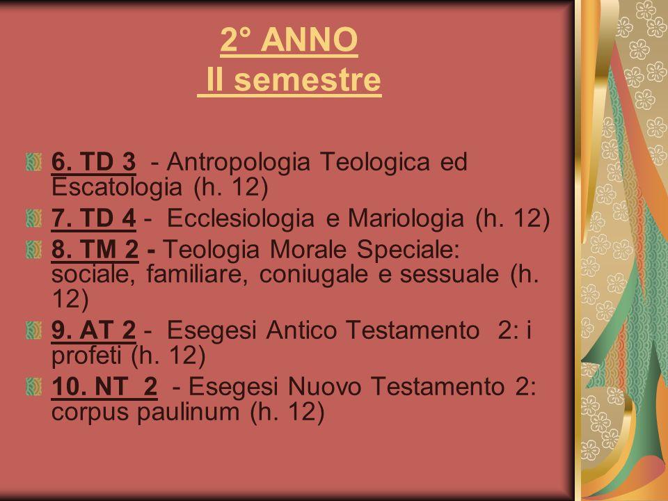 2° ANNO II semestre 6. TD 3 - Antropologia Teologica ed Escatologia (h. 12) 7. TD 4 - Ecclesiologia e Mariologia (h. 12)