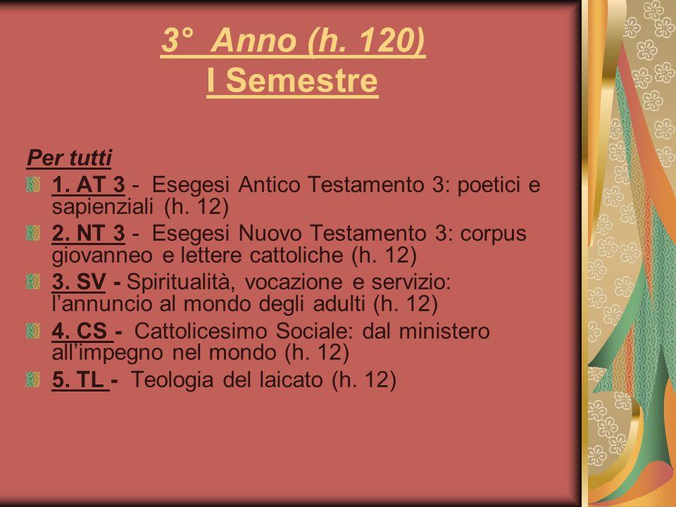 3° Anno (h. 120) I Semestre Per tutti