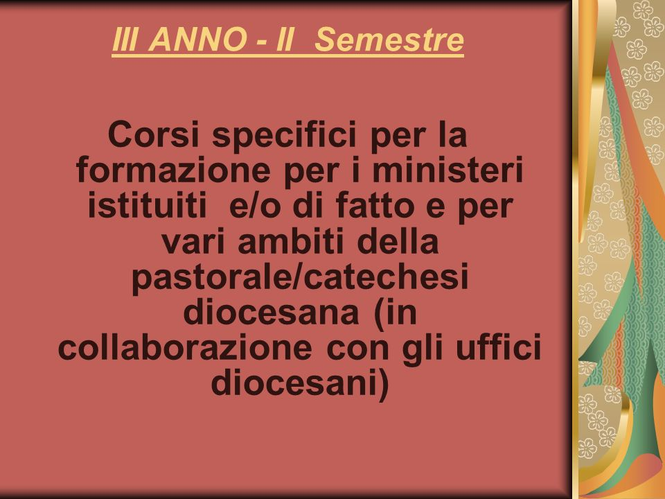 III ANNO - II Semestre