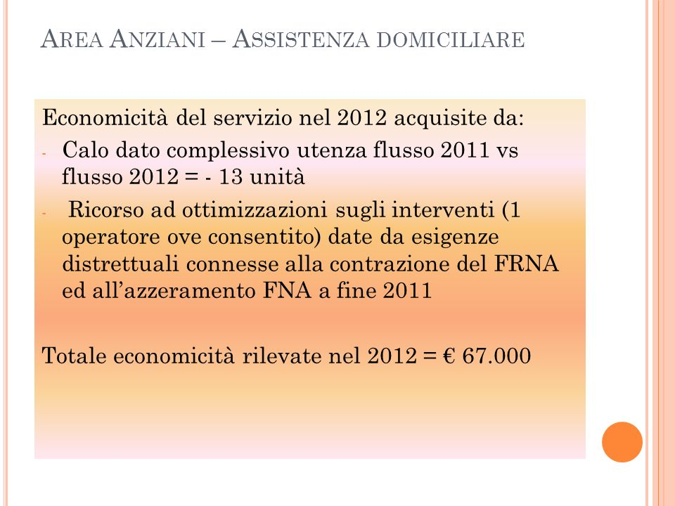 Area Anziani – Assistenza domiciliare