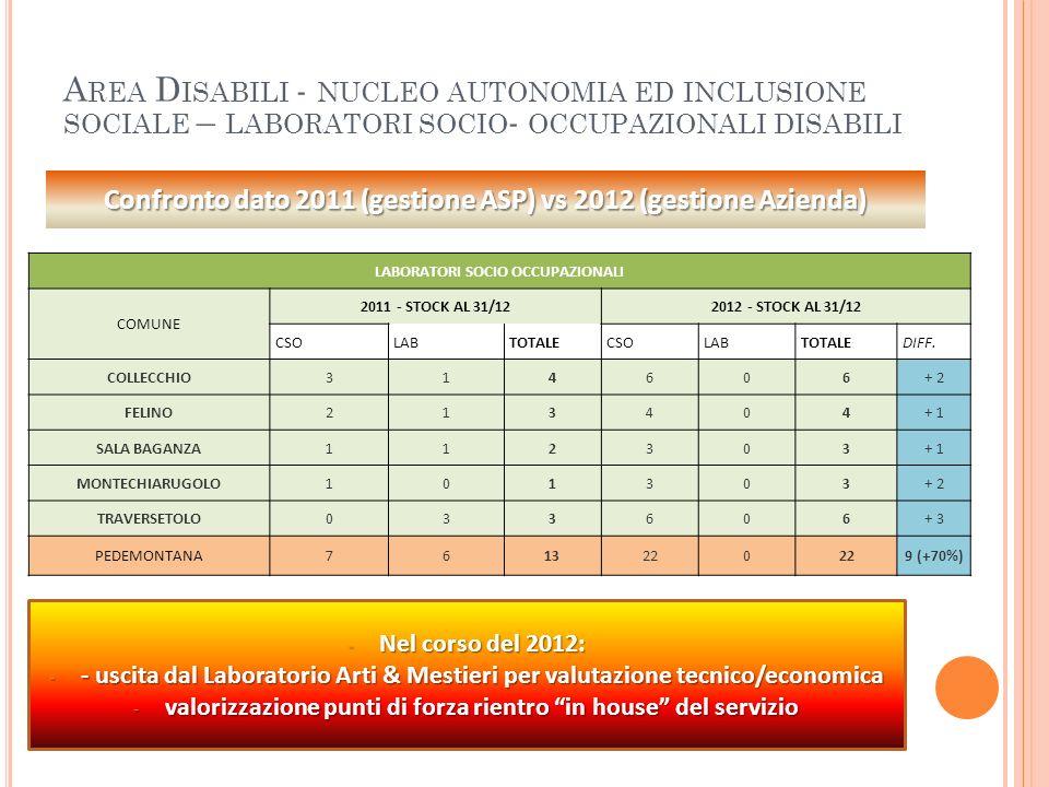 Area Disabili - nucleo autonomia ed inclusione sociale – laboratori socio- occupazionali disabili