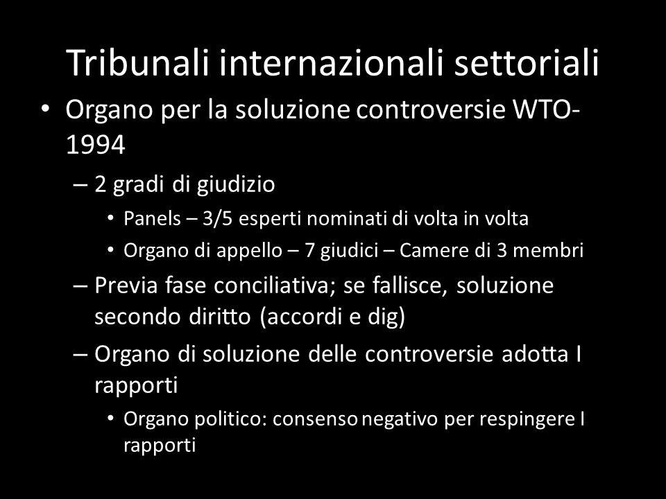 Tribunali internazionali settoriali