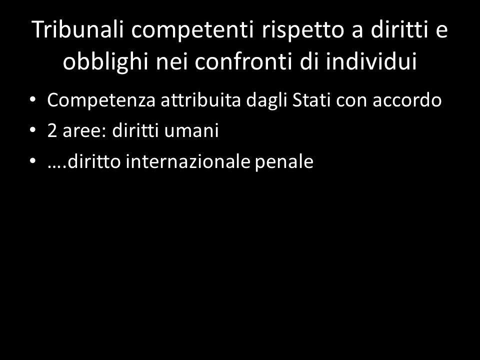 Tribunali competenti rispetto a diritti e obblighi nei confronti di individui