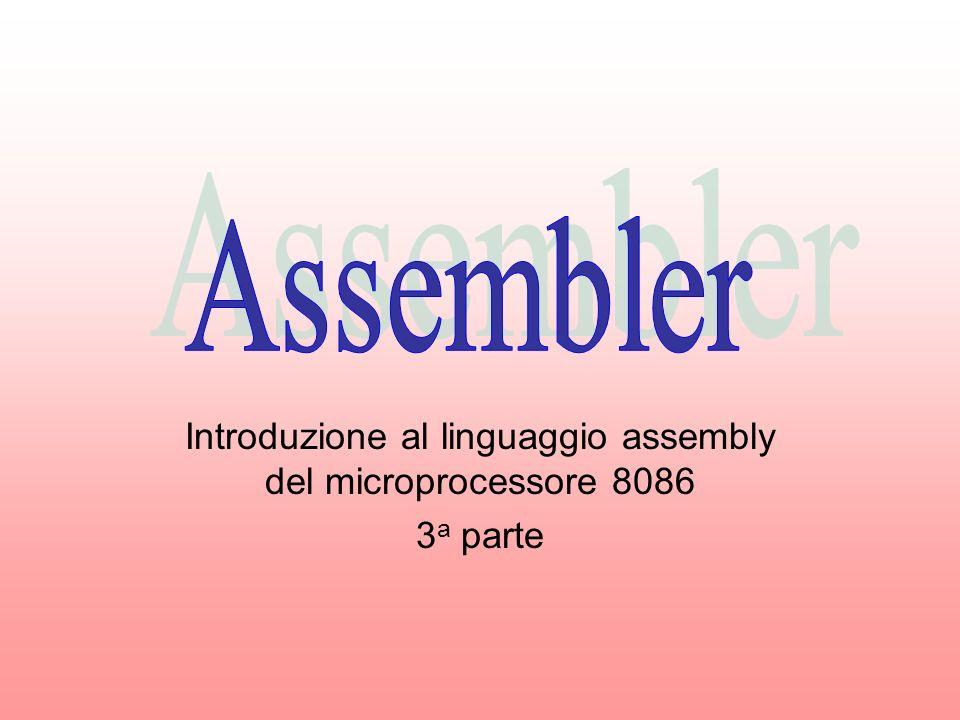 Introduzione al linguaggio assembly del microprocessore 8086 3a parte