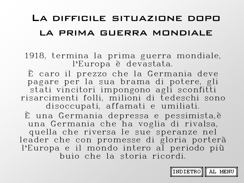 La difficile situazione dopo la prima guerra mondiale