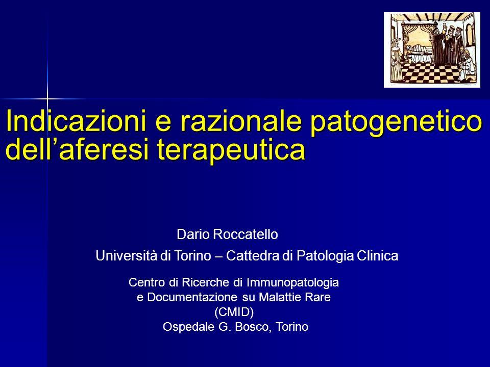 Indicazioni e razionale patogenetico dell'aferesi terapeutica