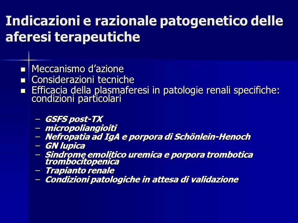 Indicazioni e razionale patogenetico delle aferesi terapeutiche