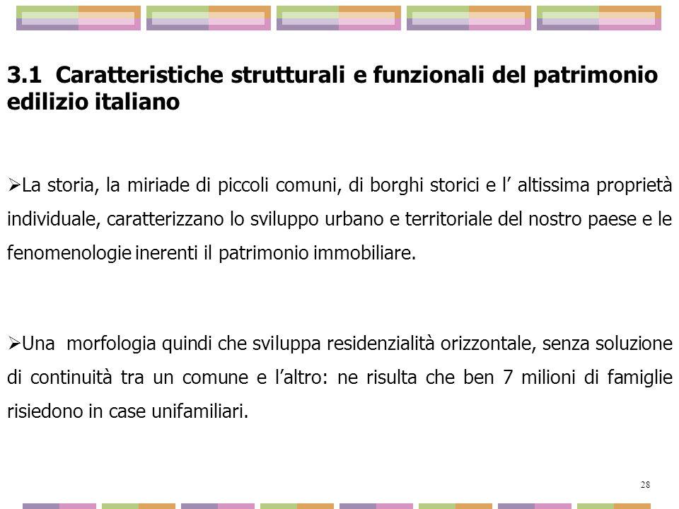 3.1 Caratteristiche strutturali e funzionali del patrimonio edilizio italiano