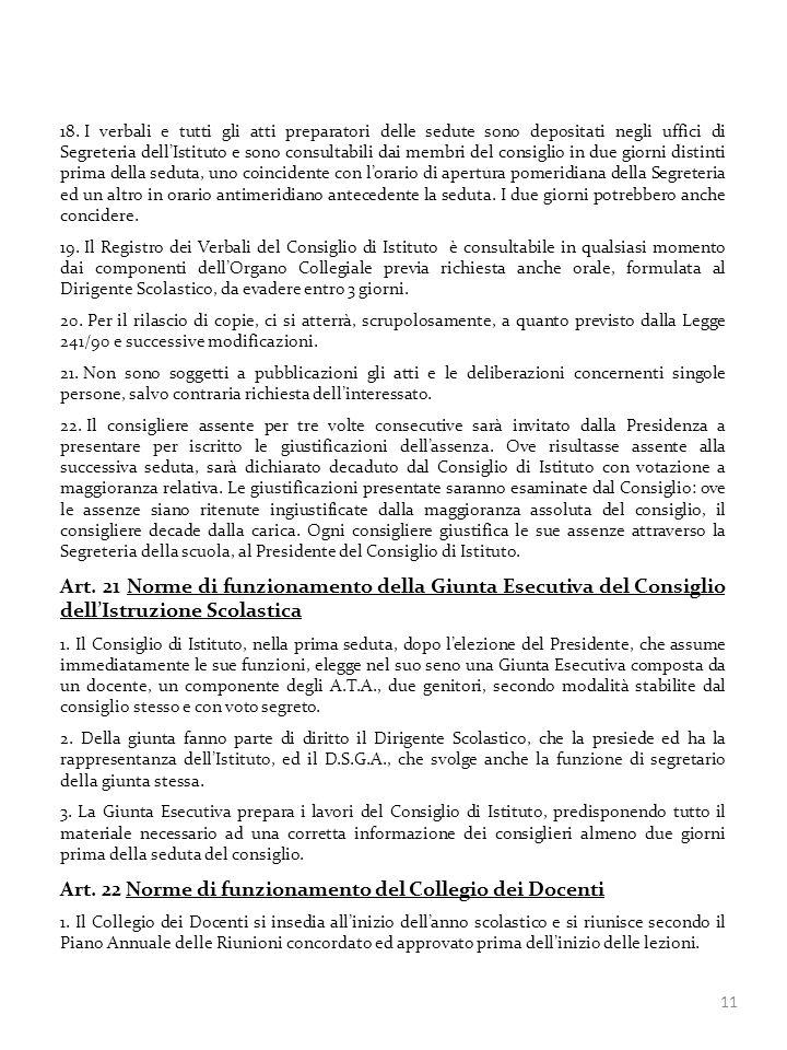 Art. 22 Norme di funzionamento del Collegio dei Docenti