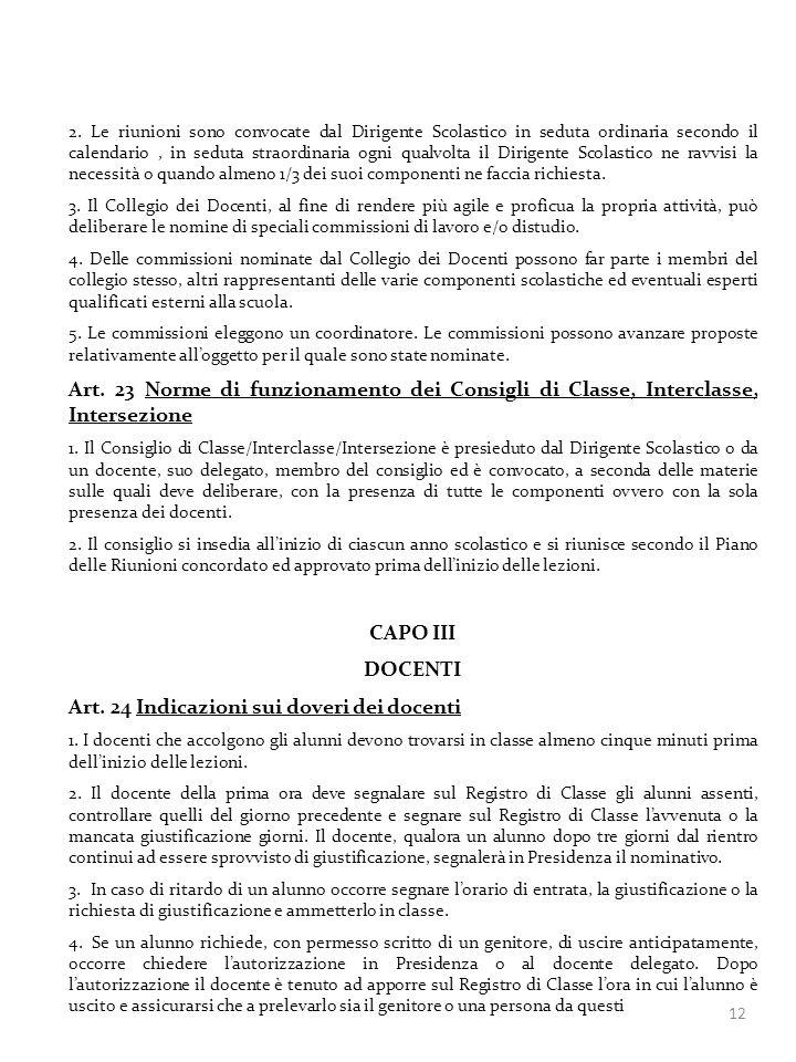 Art. 24 Indicazioni sui doveri dei docenti
