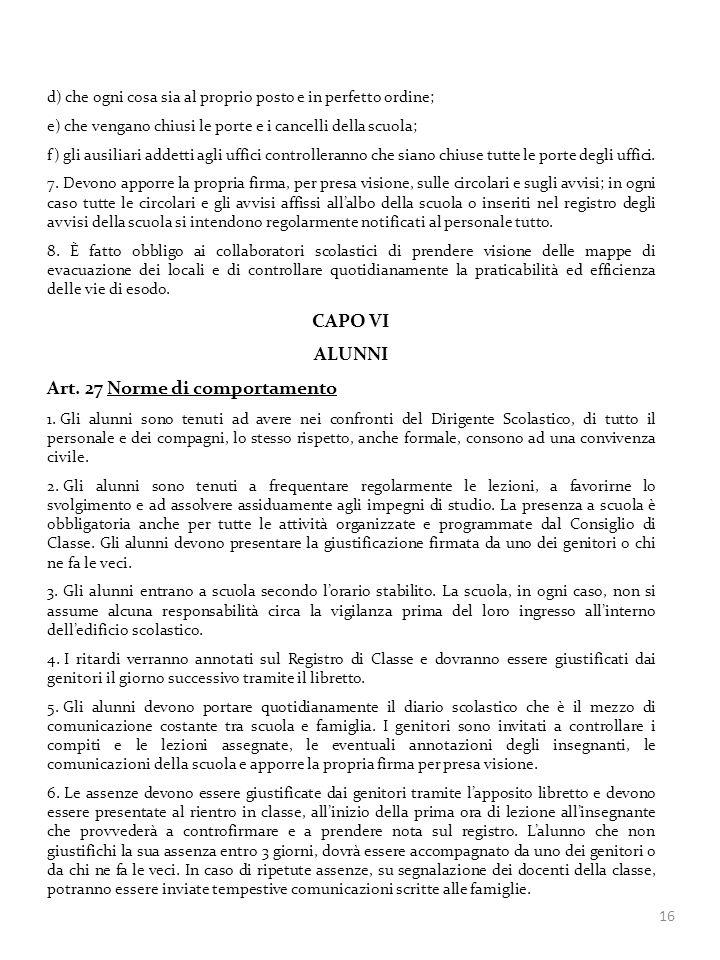 Art. 27 Norme di comportamento