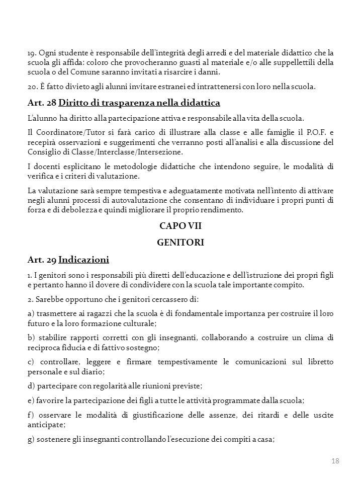 Art. 28 Diritto di trasparenza nella didattica