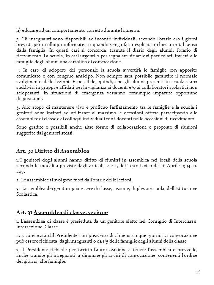 Art. 30 Diritto di Assemblea