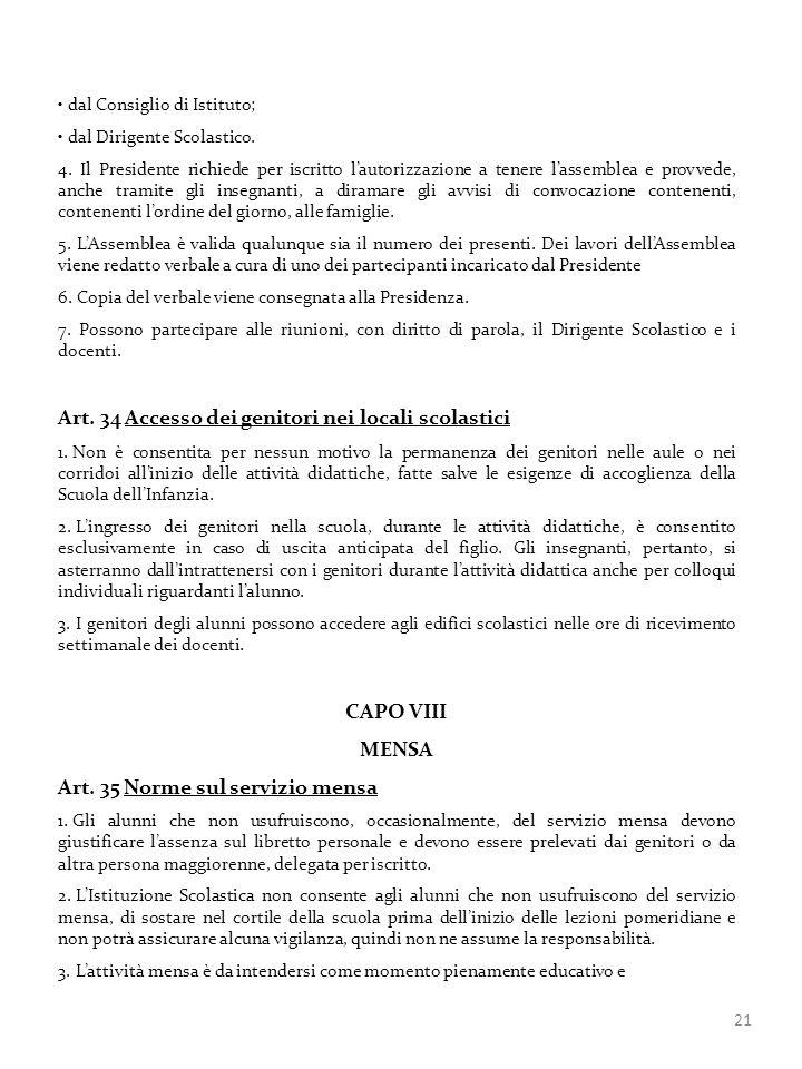 Art. 34 Accesso dei genitori nei locali scolastici