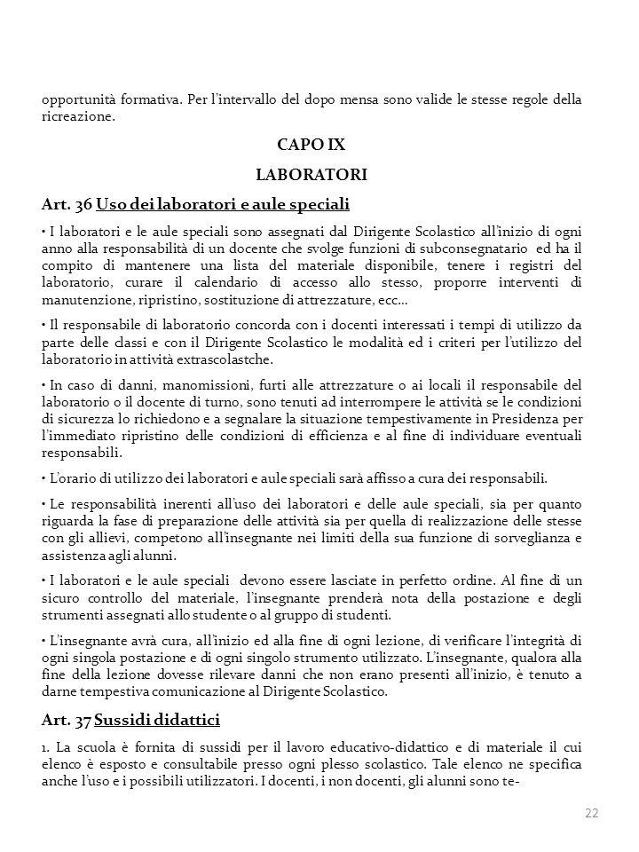 Art. 36 Uso dei laboratori e aule speciali