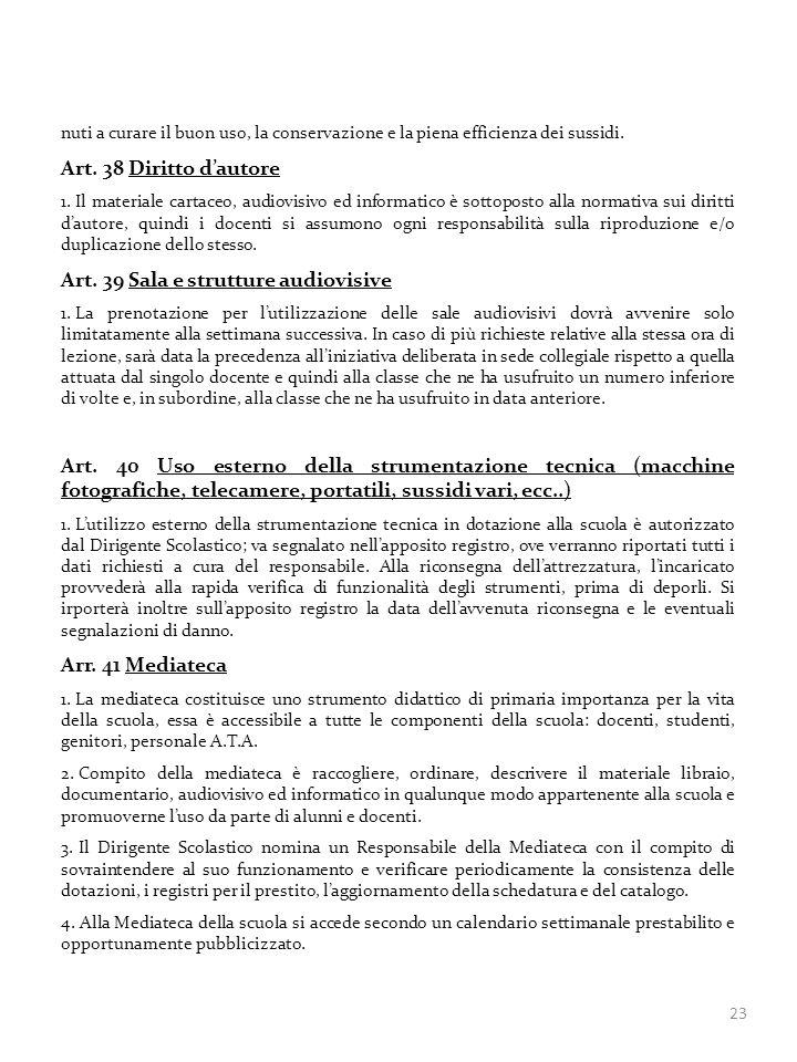 Art. 39 Sala e strutture audiovisive