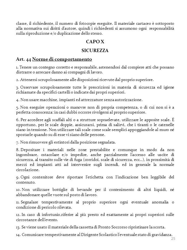 Art. 44 Norme di comportamento