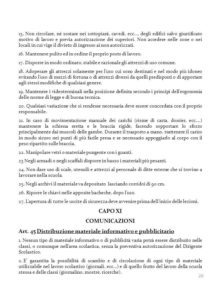 Art. 45 Distribuzione materiale informativo e pubblicitario