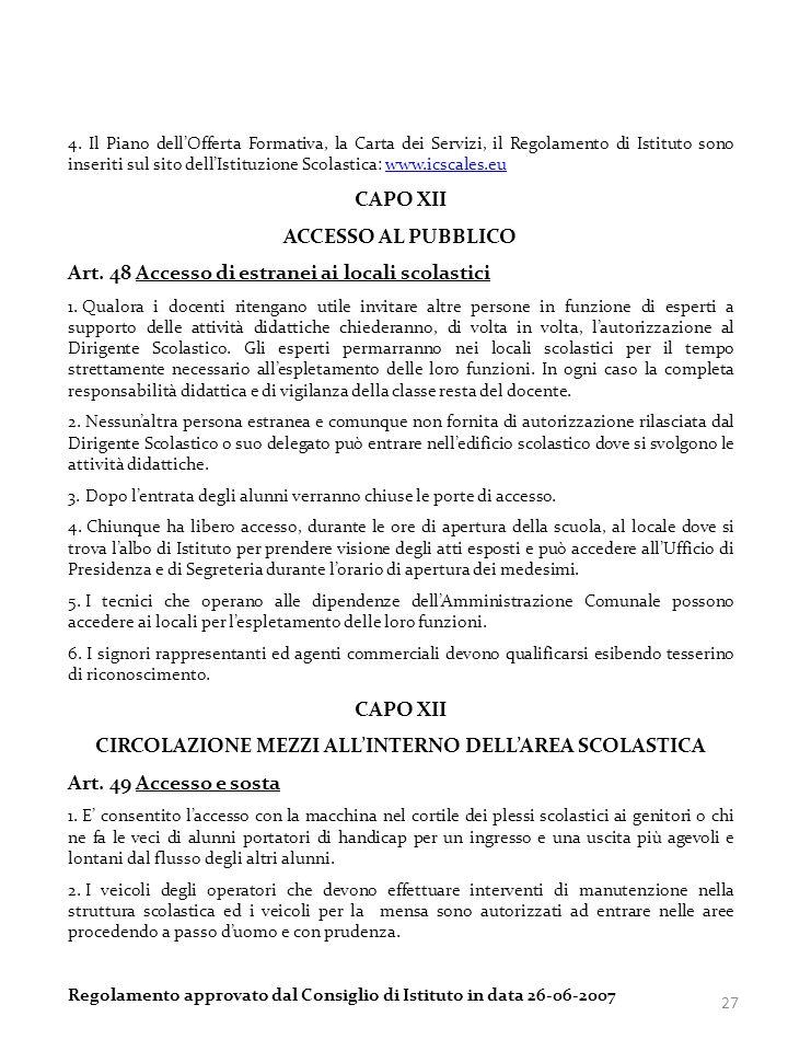 CIRCOLAZIONE MEZZI ALL'INTERNO DELL'AREA SCOLASTICA