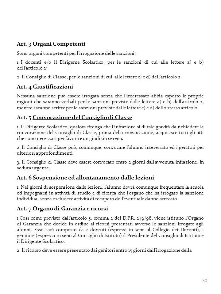 Art. 5 Convocazione del Consiglio di Classe