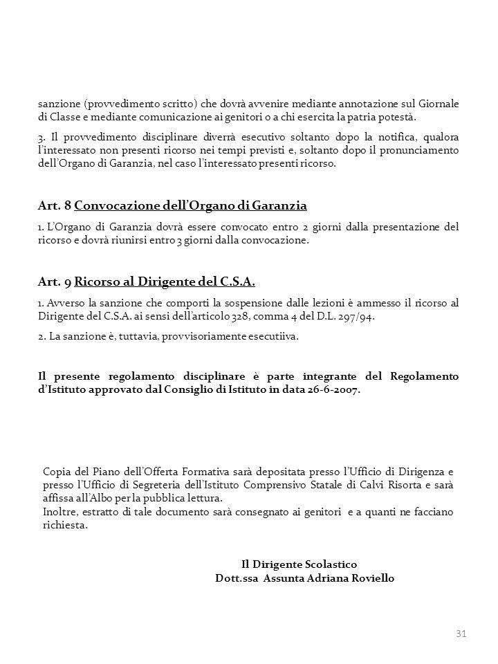 Art. 8 Convocazione dell'Organo di Garanzia