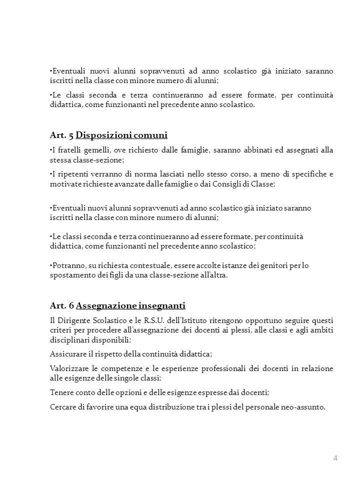 Art. 5 Disposizioni comuni
