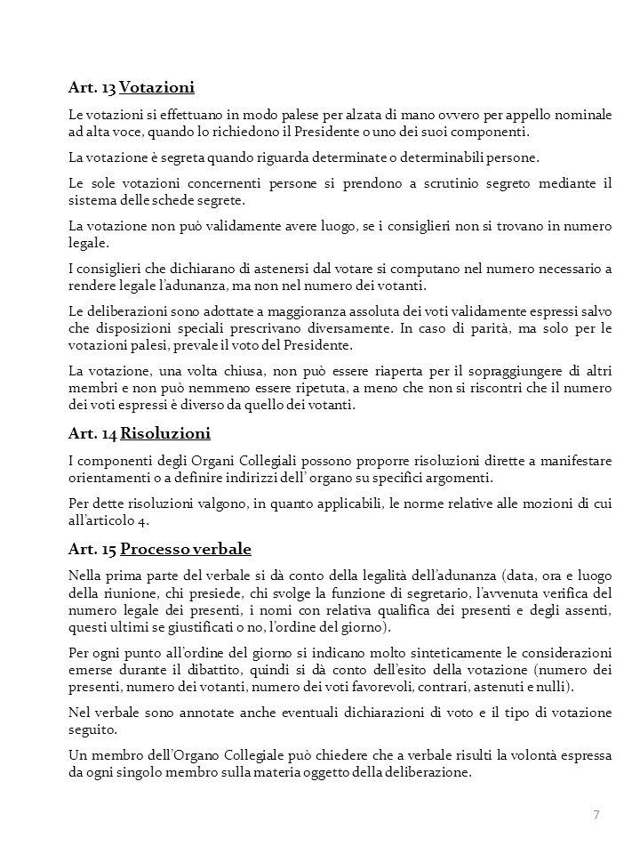 Art. 13 Votazioni Art. 14 Risoluzioni Art. 15 Processo verbale