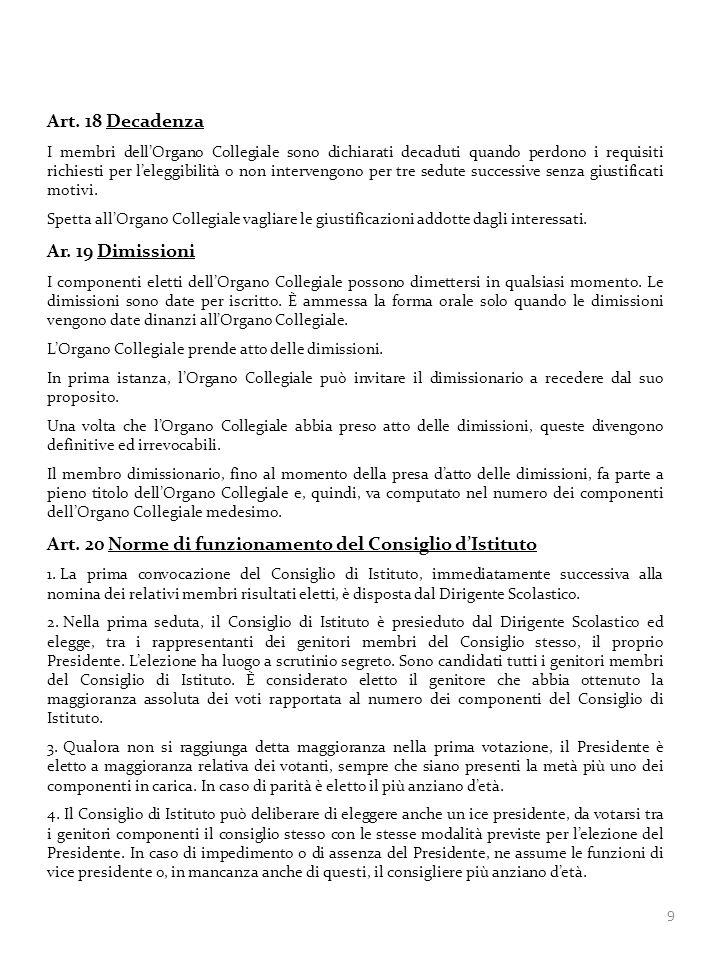 Art. 20 Norme di funzionamento del Consiglio d'Istituto