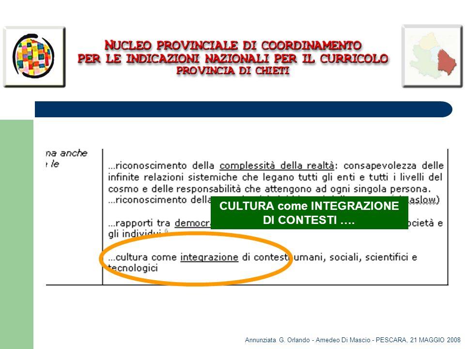 CULTURA come INTEGRAZIONE DI CONTESTI ….