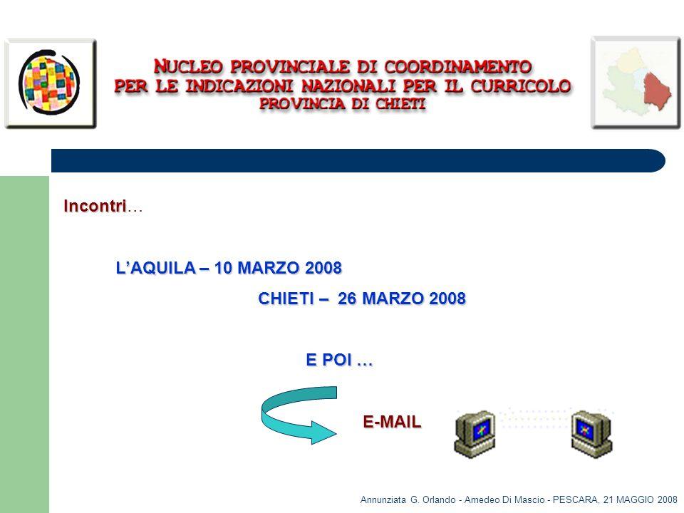 Incontri… L'AQUILA – 10 MARZO 2008 CHIETI – 26 MARZO 2008 E POI … E-MAIL