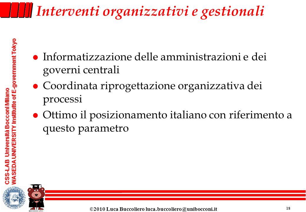 Interventi organizzativi e gestionali