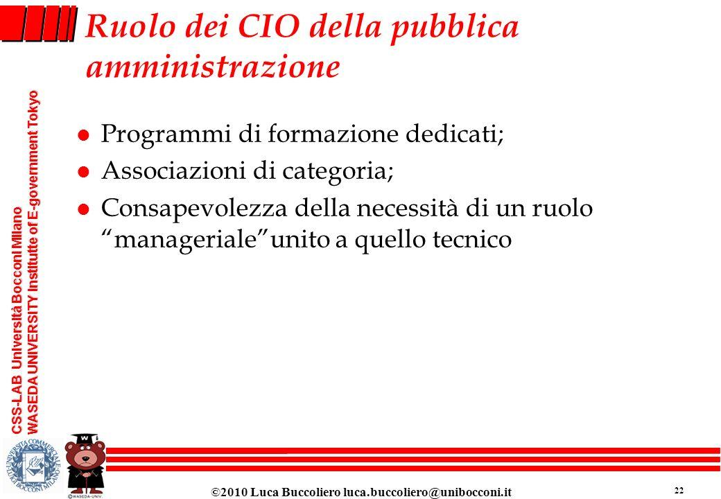 Ruolo dei CIO della pubblica amministrazione