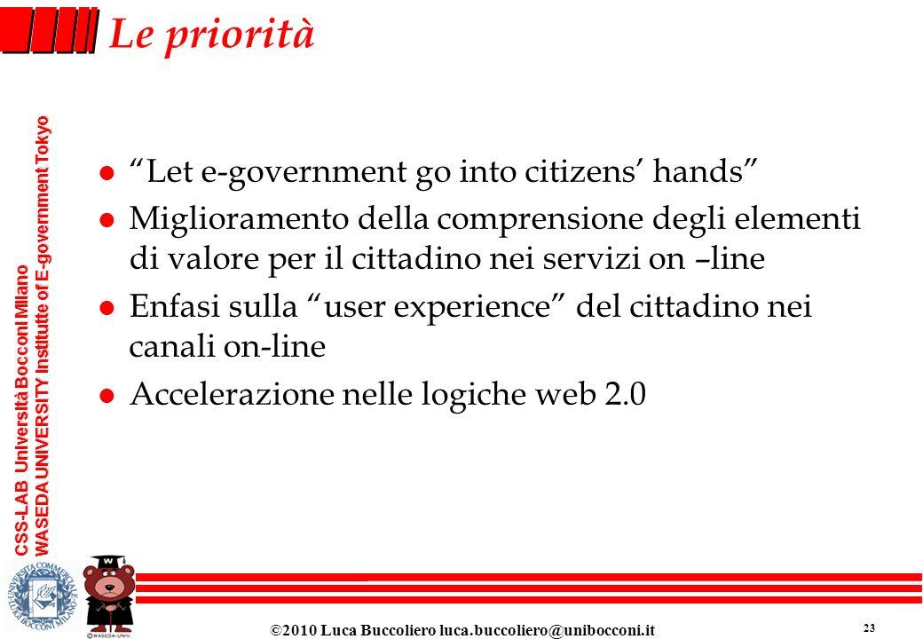 Le priorità Let e-government go into citizens' hands