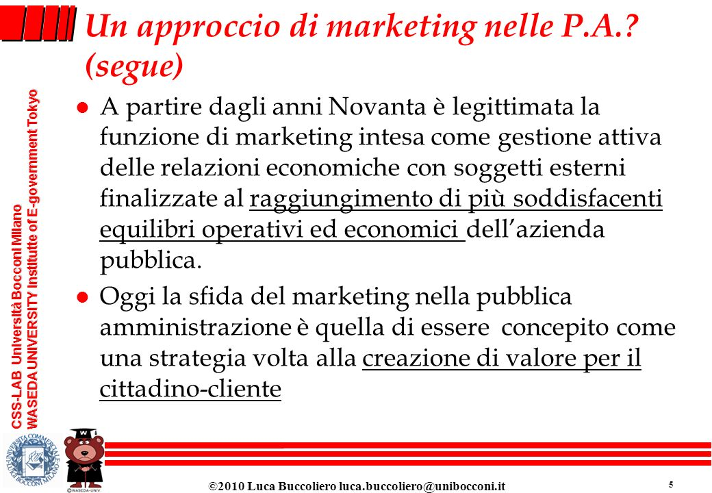 Un approccio di marketing nelle P.A. (segue)