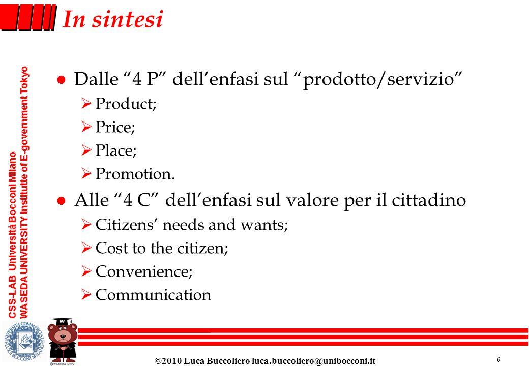 In sintesi Dalle 4 P dell'enfasi sul prodotto/servizio