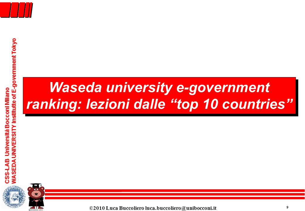 Waseda university e-government ranking: lezioni dalle top 10 countries