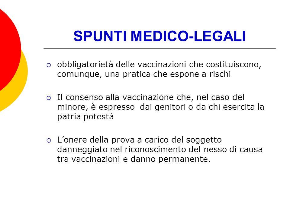 SPUNTI MEDICO-LEGALI obbligatorietà delle vaccinazioni che costituiscono, comunque, una pratica che espone a rischi.