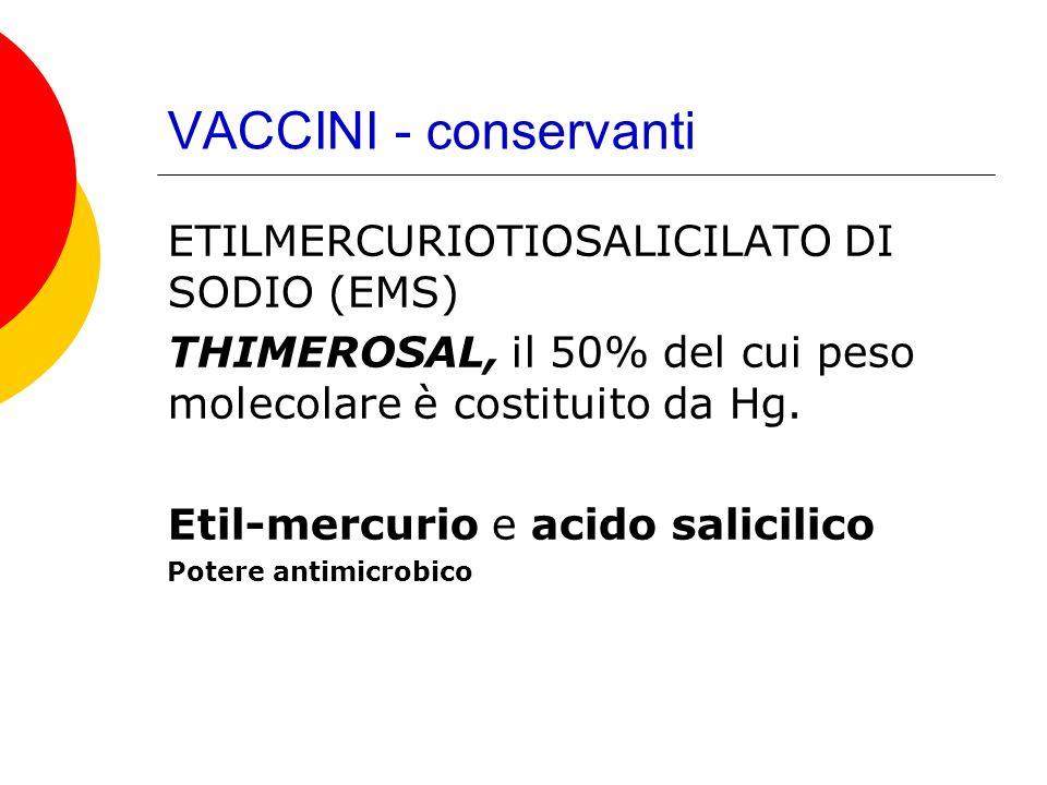 VACCINI - conservanti ETILMERCURIOTIOSALICILATO DI SODIO (EMS)