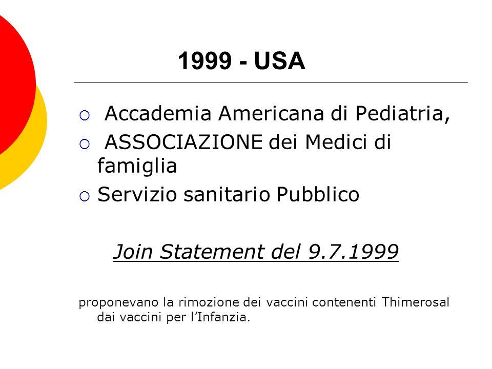 1999 - USA Accademia Americana di Pediatria,