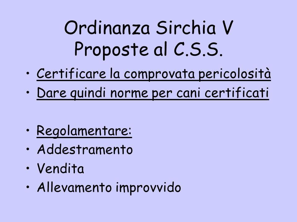 Ordinanza Sirchia V Proposte al C.S.S.