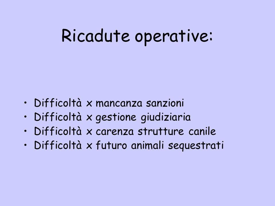 Ricadute operative: Difficoltà x mancanza sanzioni