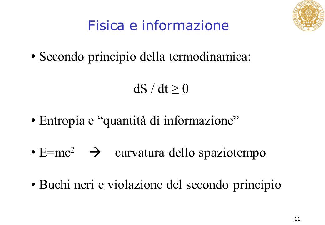 Fisica e informazione Secondo principio della termodinamica: dS / dt ≥ 0. Entropia e quantità di informazione