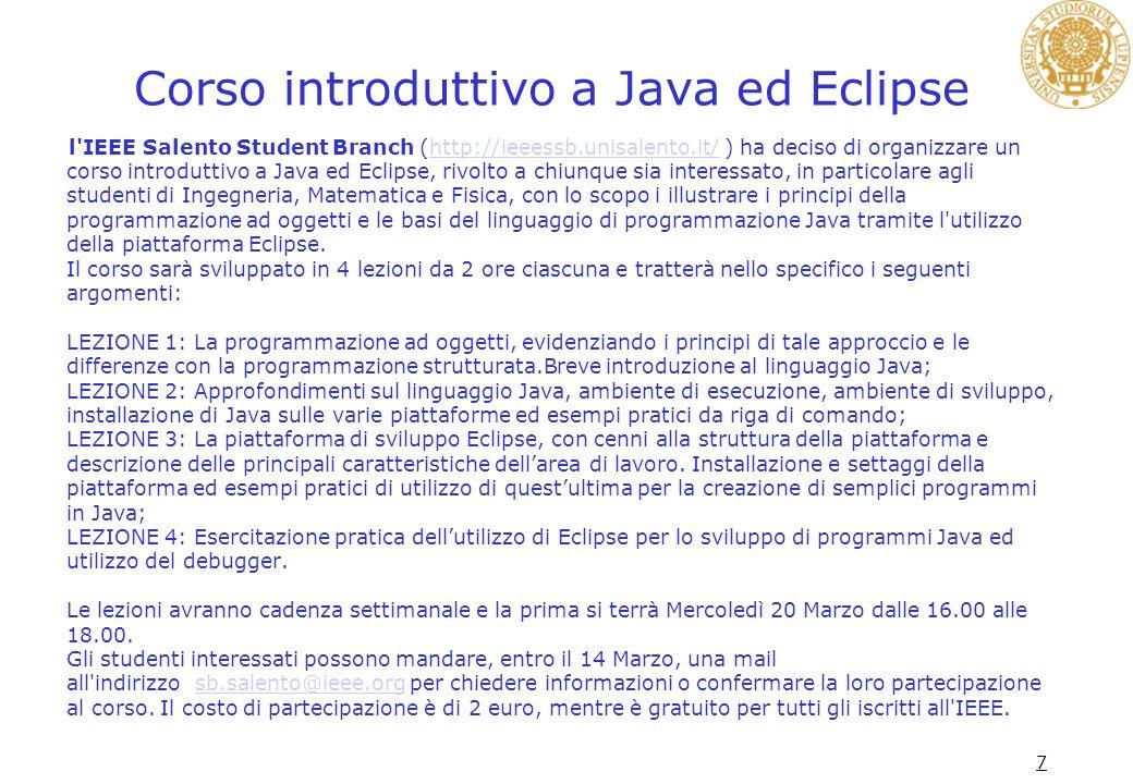 Corso introduttivo a Java ed Eclipse