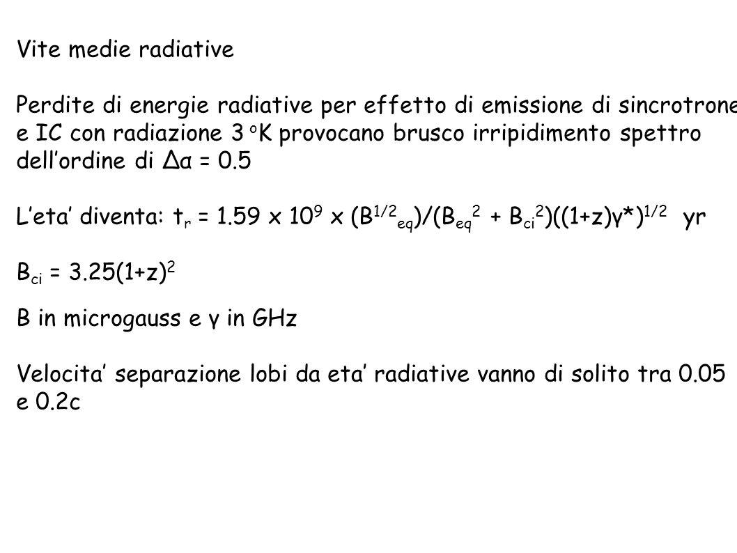Vite medie radiative Perdite di energie radiative per effetto di emissione di sincrotrone.
